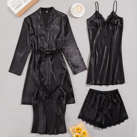 Moda seda sexy encaje liguero pijamas pantalones cortos bata conjunto de cuatro piezas NHJO343292's discount tags