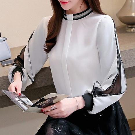 Camisa de manga larga con cuello alto y gasa con manga farol NHUO343391's discount tags