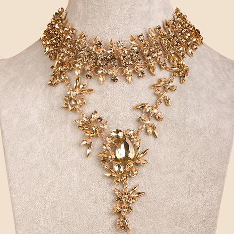 Collar exagerado con colgante de gota de diamante lleno de aleación clásica de moda NHYAO343434's discount tags