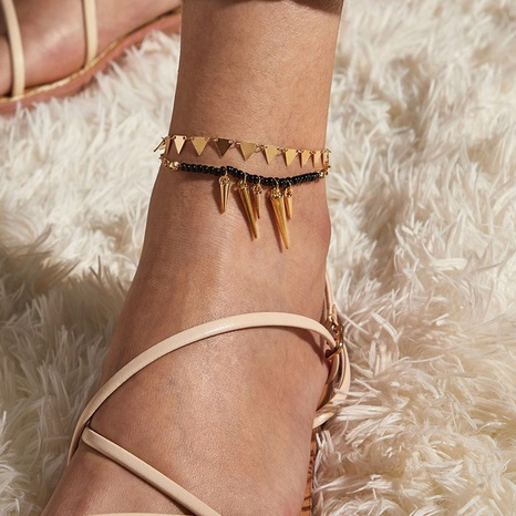 simple new beach style cone triangle set anklet 2-piece set NHGY343432's discount tags