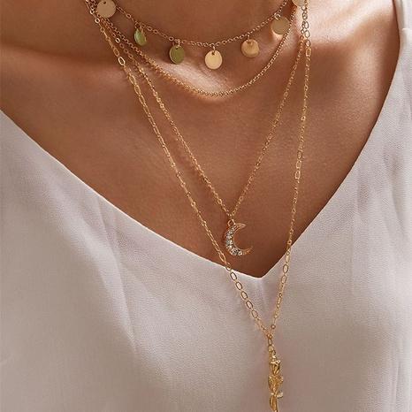 collar con colgante de luna rosa multicapa de moda NHGY343430's discount tags