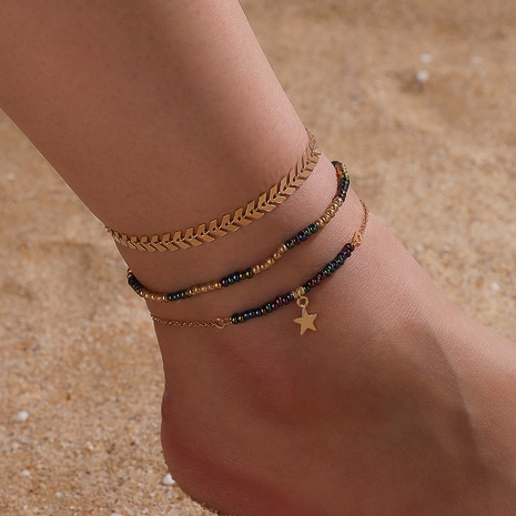 fashion simple five-pointed star rice bead anklet 3 piece set NHGY343427's discount tags