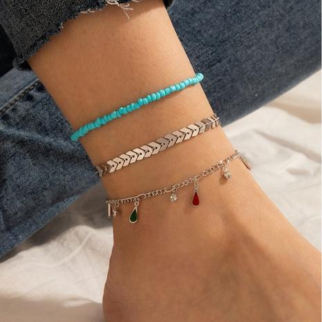 Korea Legierung handgefertigte Reisperle Farbe Diamant Fußkettchen 3-teiliges Set NHGY343423's discount tags