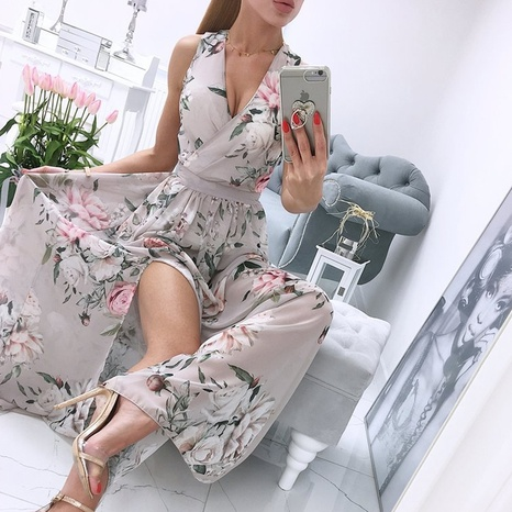 Vestido sin mangas estampado sexy con cuello en V y moda de verano para mujer NHWA343379's discount tags