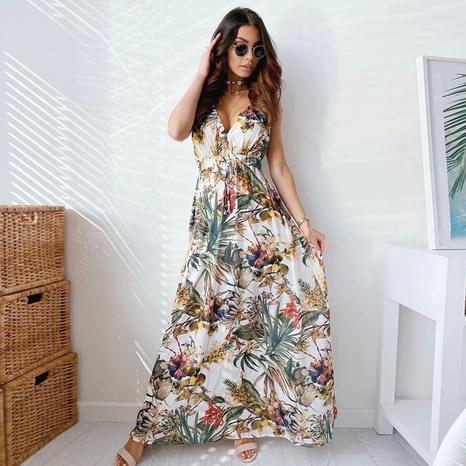Vestido sexy sin mangas con cuello en V y lazo estampado de estilo nuevo de verano NHWA343381's discount tags