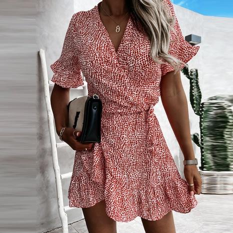 Vestido de manga corta con cordones y cuello en V de moda de verano para mujer NHWA343377's discount tags