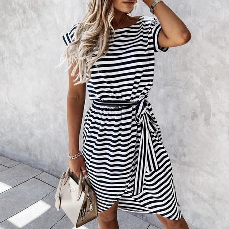 Vestido de manga corta con estampado de rayas y cordones sexy de verano con hombros descubiertos NHWA343373's discount tags