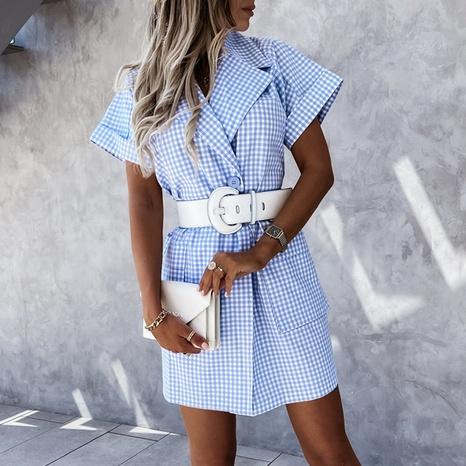 Vestido corto con estampado de cuadros con cuello de traje de moda de verano para mujer NHWA343372's discount tags