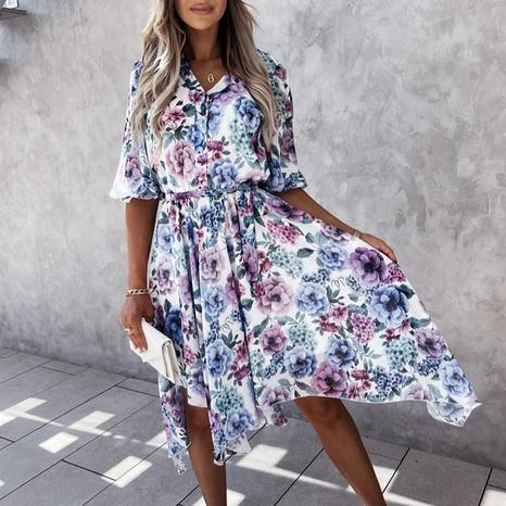 Vestido de media manga con estampado floral de verano de nueva moda NHWA343387's discount tags