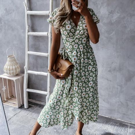 Vestido de manga corta floral sexy con cuello en V de moda de verano para mujer NHWA343388's discount tags