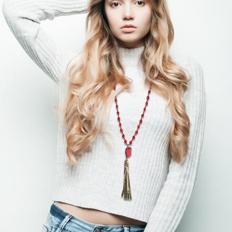 Moda nueva cadena de suéter rojo colgante de borla bohemia de cristal NHLN343412's discount tags