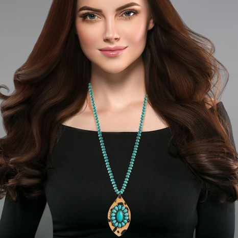 Moda turquesa estilo bohemio cadena de suéter de leopardo de cuero largo NHLN343408's discount tags