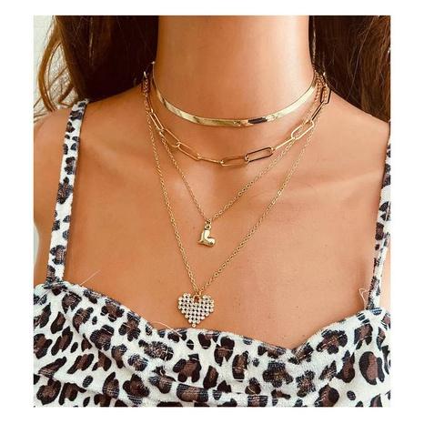 Collar en forma de corazón de diamantes de aleación de múltiples capas de moda NHCT343668's discount tags