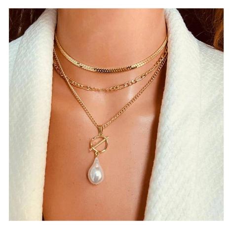Collar de aleación de múltiples capas con cadena de perlas en forma de moda al por mayor NHCT343664's discount tags