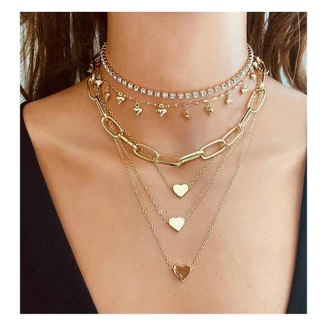 Collar en forma de corazón de aleación de cadena multicapa de moda al por mayor NHCT343663's discount tags