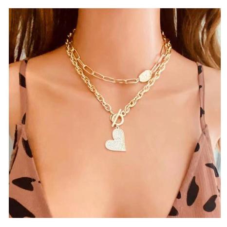 Collar de doble capa en forma de corazón de diamantes de aleación de moda NHCT343662's discount tags