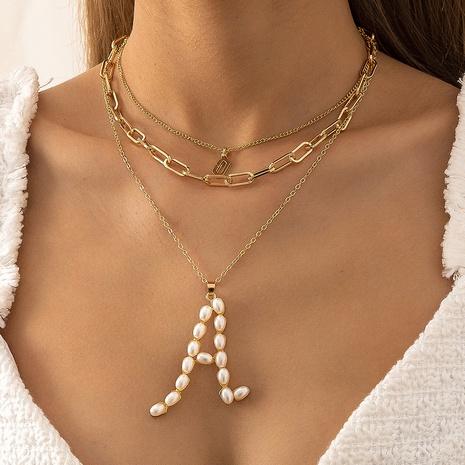 Moda letra geométrica con incrustaciones de perlas collar de aleación de múltiples capas al por mayor NHXR343673's discount tags
