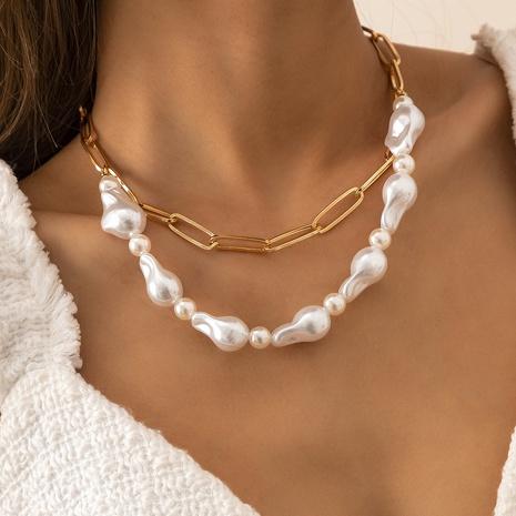 Collar de aleación de doble capa de perlas de imitación en forma especial de moda al por mayor NHXR343677's discount tags