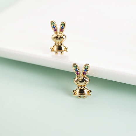Pendientes de circón con incrustaciones de cobre con forma de conejo lindo de moda al por mayor NHQIY343685's discount tags