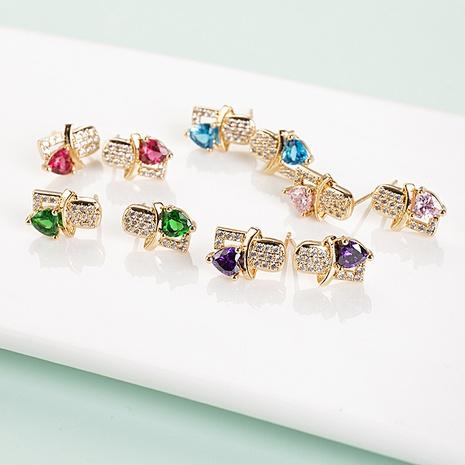 Pendientes de circón con incrustaciones de cobre geométrico multicolor coreano al por mayor NHQIY343695's discount tags