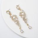 Korean diamondstudded flowers pearl stud earrings wholesale NHQIY343705