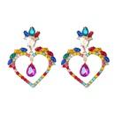 fashion new alloy diamond rhinestone flower love heartshaped earrings NHJE343732