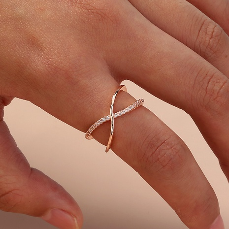 simple diamond cross alloy open ring NHAN343760's discount tags