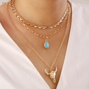 Fashion heartshape bull head multilayer alloy necklace  NHBW343766