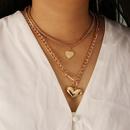 Fashion heartshape multilayer alloy necklace wholesale NHBW343767