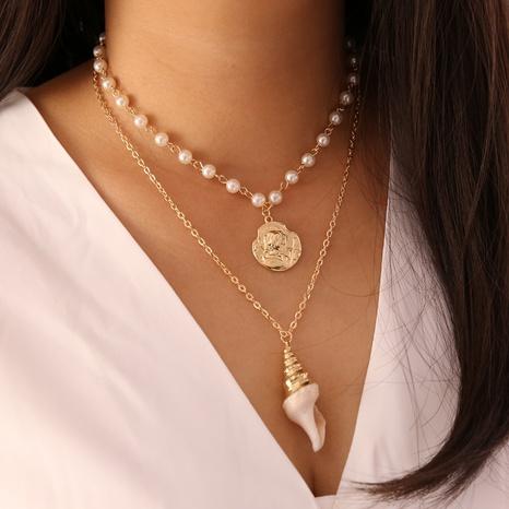 Moda Pearl Coin Conch Shell Collar multicapa al por mayor NHBW343768's discount tags