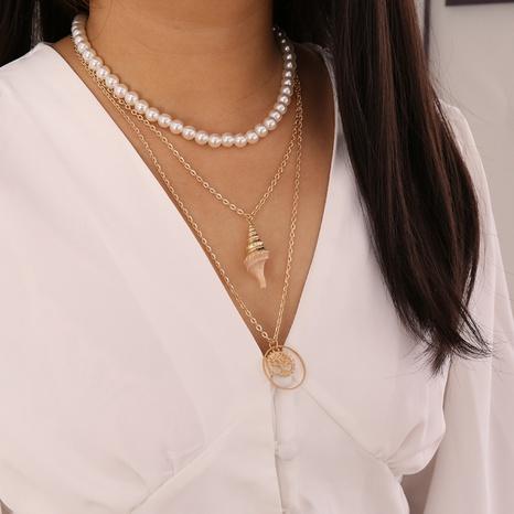 Collar de aleación de múltiples capas de árbol de concha de perla de moda al por mayor NHBW343769's discount tags