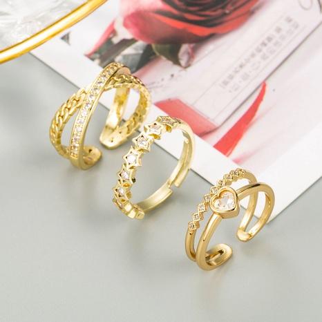 anillo de circón con micro incrustaciones de cobre de corazón de estrella geométrica de moda NHLN343775's discount tags