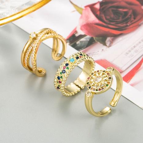 girasol de moda geométrico con incrustaciones de cobre con anillo de circonitas de colores NHLN343776's discount tags