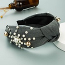 Korean pearl bow knotted wide headband  NHLN343780