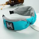 Korean plaid wide bowknot contrast color headband  NHLN343783