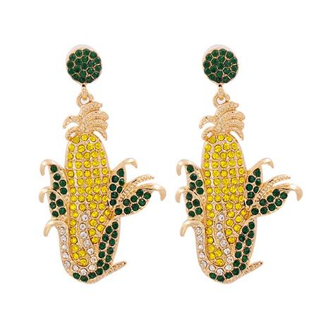 Pendientes de aleación de diamante de color de forma de maíz de moda al por mayor NHJJ343788's discount tags