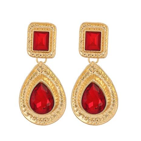 Pendientes en forma de gota de piedras preciosas artificiales con incrustaciones de aleación de moda al por mayor NHJJ343791's discount tags