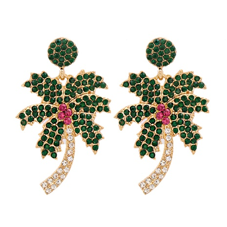 Pendientes de aleación de árbol de coco con diamantes de moda al por mayor NHJJ343793's discount tags
