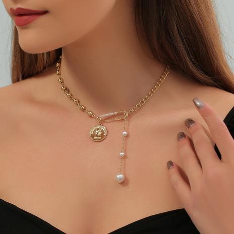 Forme al por mayor creativo del collar de la perla del clip de papel del metal NHDP343816's discount tags