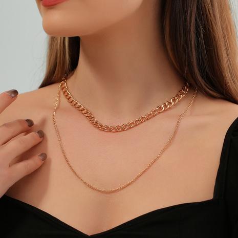 Collar de aleación de cadena gruesa de doble capa geométrica de moda al por mayor NHDP343826's discount tags