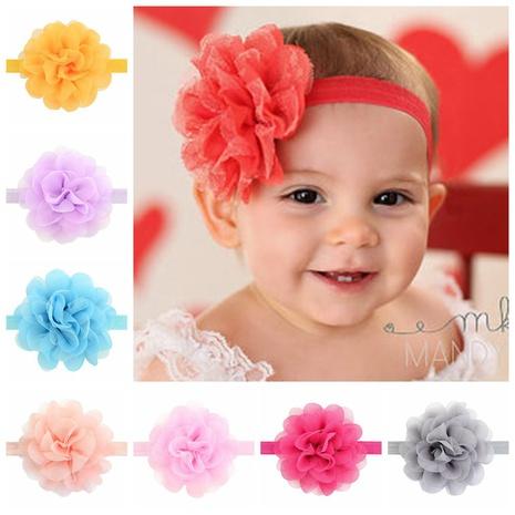 neue koreanische Stil mehrfarbige reine Farbe Kindernetz Gaze Blume Stirnband Set NHMO343900's discount tags