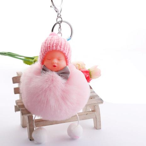 Porte-clés de poupée endormie en fourrure de lapin rex NHDI343992's discount tags