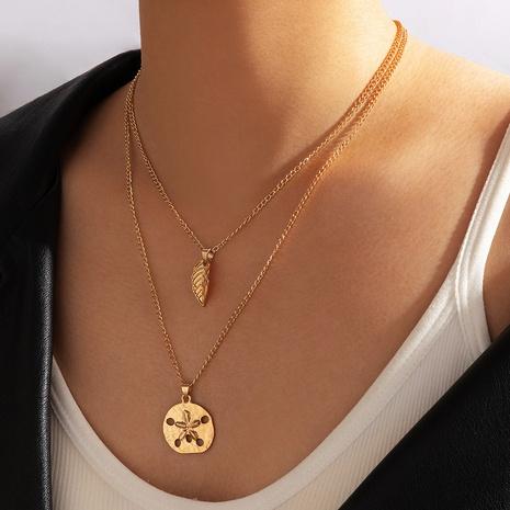 collar de estilo boho colgante de hoja redonda de aleación de nuevo estilo de moda NHGY344035's discount tags