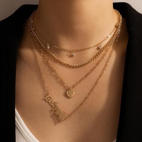 Retro Metall Brief Liebe mehrschichtige Halskette NHGY344175's discount tags