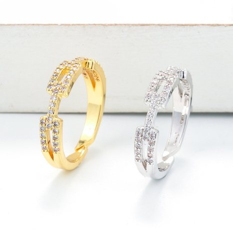 fashion copper gold-plated geometric double open ring NHWG343520's discount tags