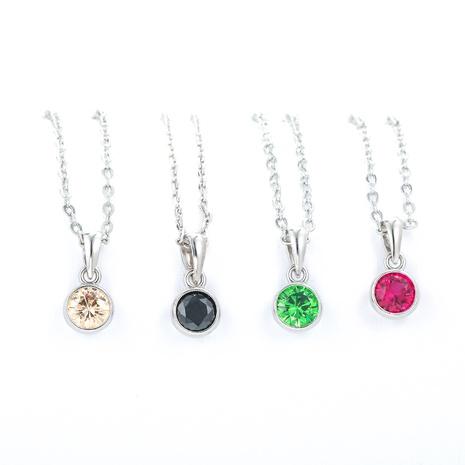 Collar corto de plata con cadena de circón de color de Corea al por mayor NHWG343543's discount tags