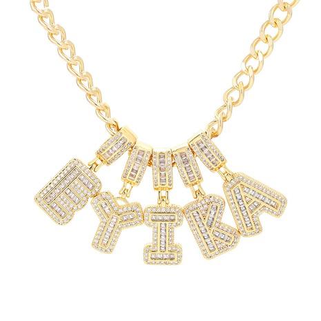 Moda 26 letras inglesas collar de circón con incrustaciones de cobre al por mayor NHWG343547's discount tags