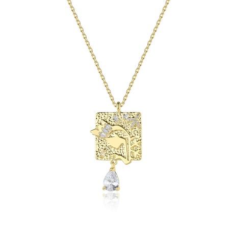 Collar de circón con incrustaciones de cobre dorado geométrico de moda al por mayor NHTM343612's discount tags