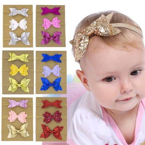 koreanische niedliche Art Kinder Nylon Pailletten Schleife reine Farbe Stirnband Set NHWO344008's discount tags