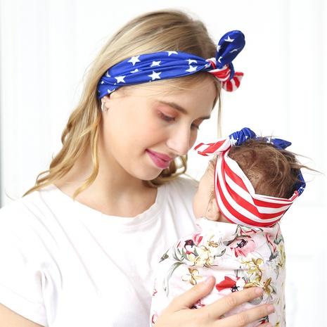 American Independence Day Mutter Kind Hasenohren Streifen blaue Sterne geknotet Haarband NHWO344010's discount tags